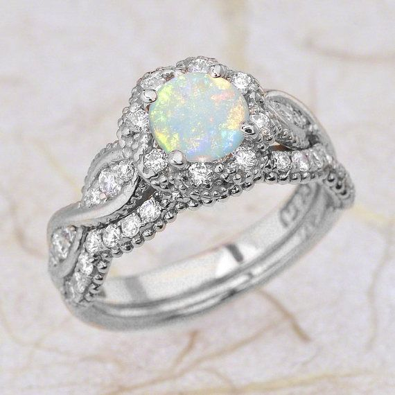 Rose Gold Engagement Ring Set / Opal Engagement Ring Bridal Set / Halo Opal Enga…