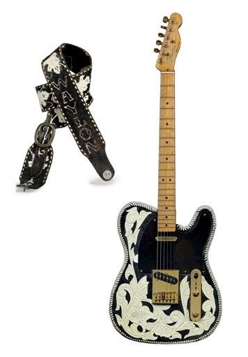 WAYLON JENNINGS 1950 Fender Broadcaster and custom guitar strap... Waylon played this guitar up unto his passing several years ago.