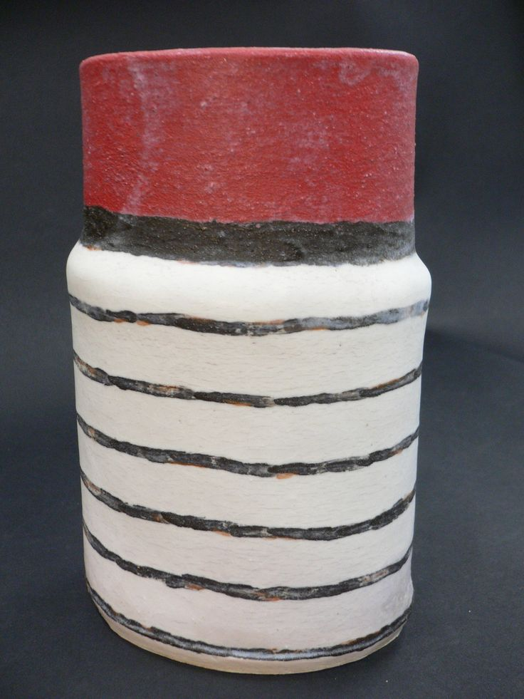Linear Variations Vase. Hand-built. Electric fired. Private Collection.