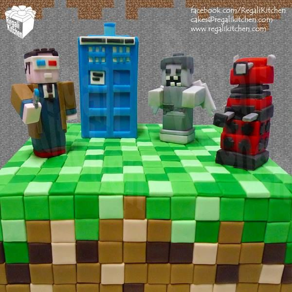 Minecraft Dr. Who Cake | 10th Doctor, TARDIS, Weeping Angel and Dalek | by The Regali Kitchen