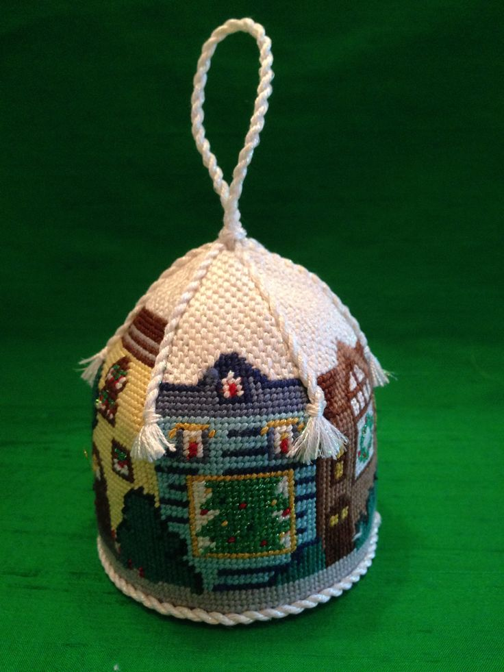 Charleston Christmas House Carousel  needlepoint ornament ~ canvas by Canvas Connection