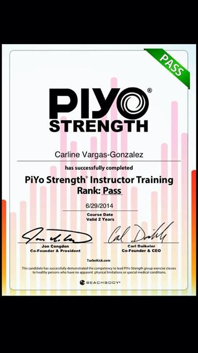 PiYo Certification ::check:: June 29, 2014