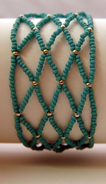 Woven Glass Turquoise and Silver Bead Bracelet