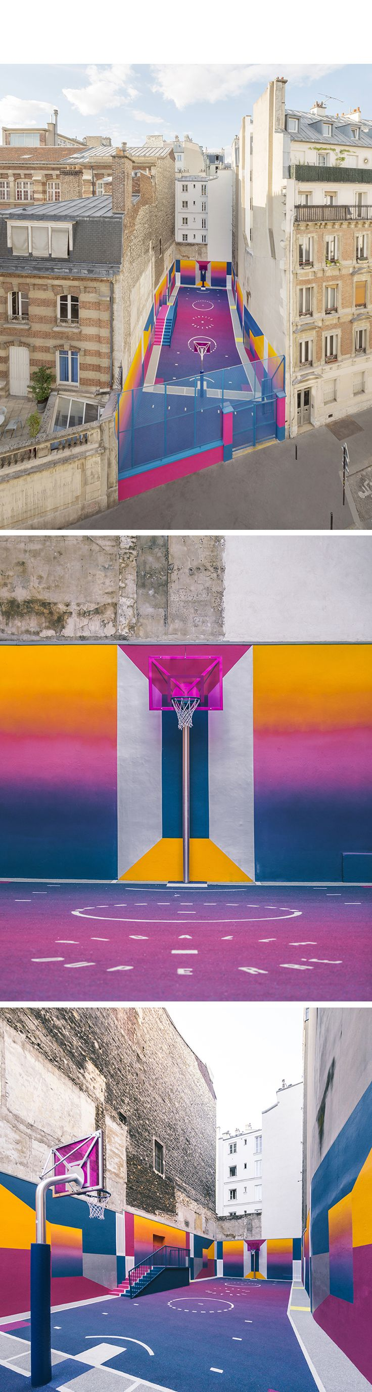 paris' pigalle basketball court canvassed in a gradient of smooth, iridescent hues. #paris #france #basketball #art #streetart