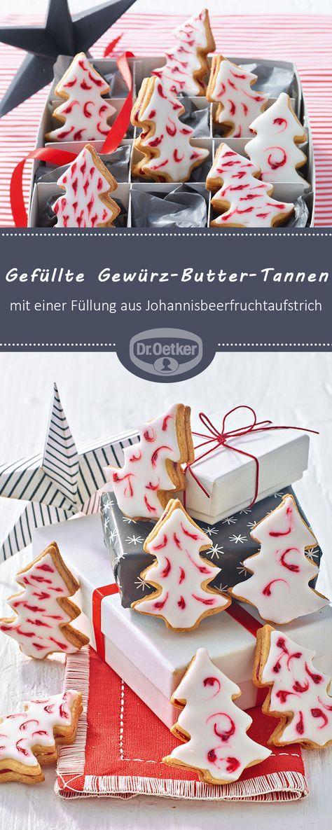 Gefüllte Gewürz-Butter-Tannen: Feine Gewürzplätzchen mit einer Füllung aus Johannisbeerfruchtaufstrich