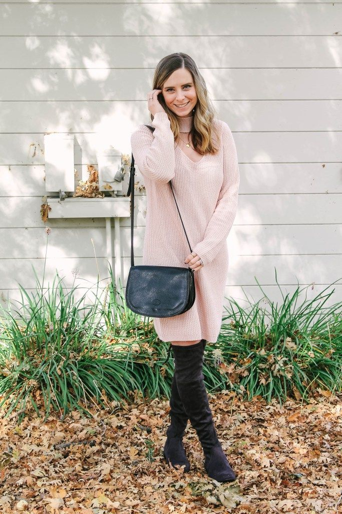 A blush sweater dress with over the knee boots PERFECT for fall and oh so comfortable! Perfect for the holidays and will carry you right into spring! Read on to find out why!