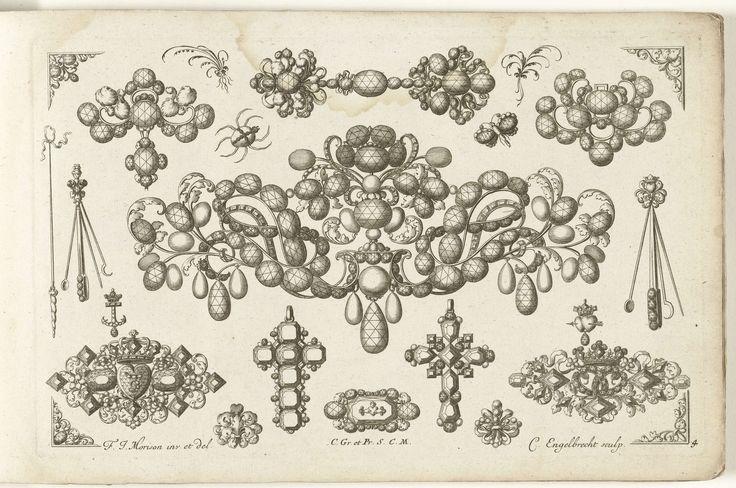 Drieëntwintig ontwerpen voor juwelen, Christian Engelbrecht, Johann Andreas Pfeffel (der Ältere), Jeremias Wolf, na 1699 - voor 1724