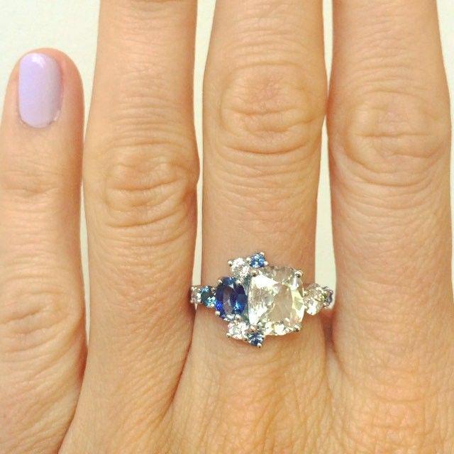 Custom old mine cut diamond and sapphire stone cluster ring by Mociun