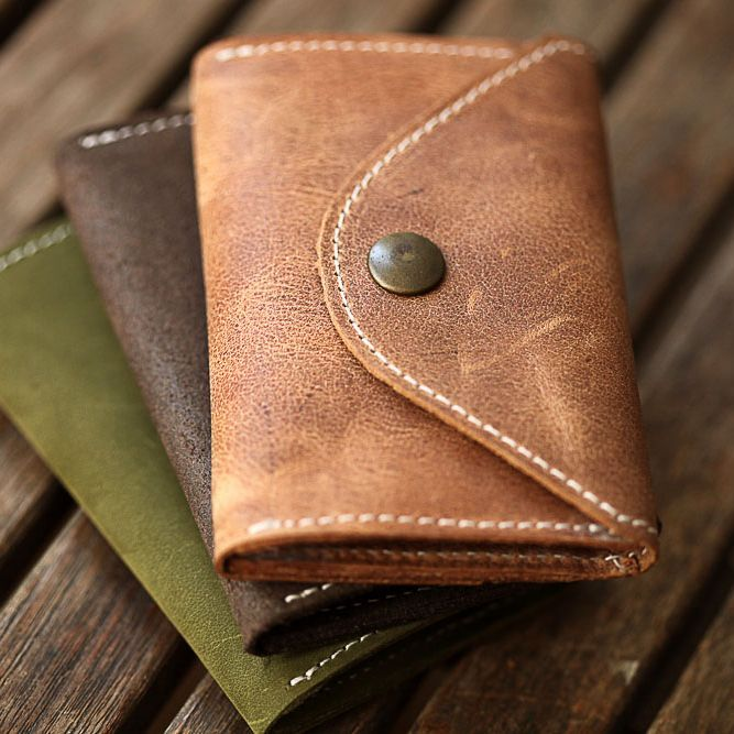 Cards and Coins Brown Leather Wallet for man. Minimal & Slim Wallet for Cards an… – GAZUR | Handmade Ethnical Leather Wallets & Fashion Items