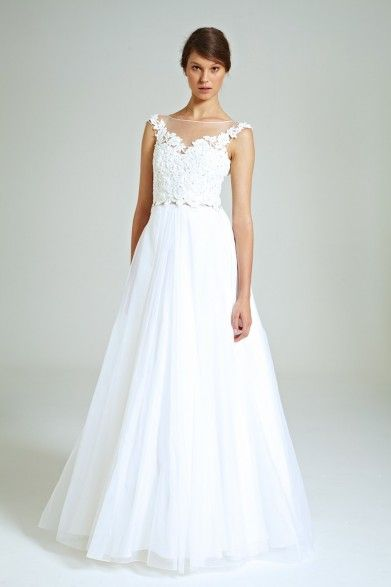 Collette Dinnigan Diamonte Flowers Lace Applique Tulle Gown