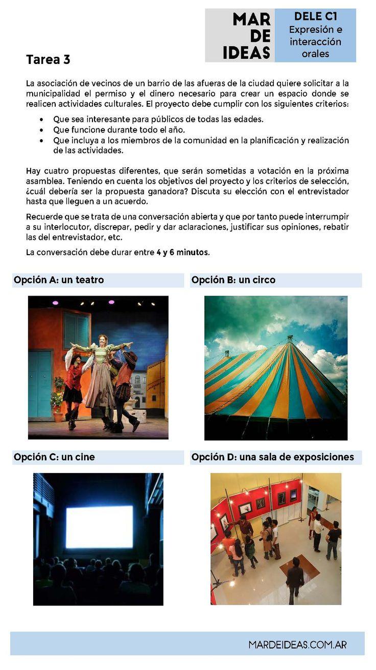 Expresión e interacción orales. Examen DELE C1 Tarea 3: un proyecto cultural