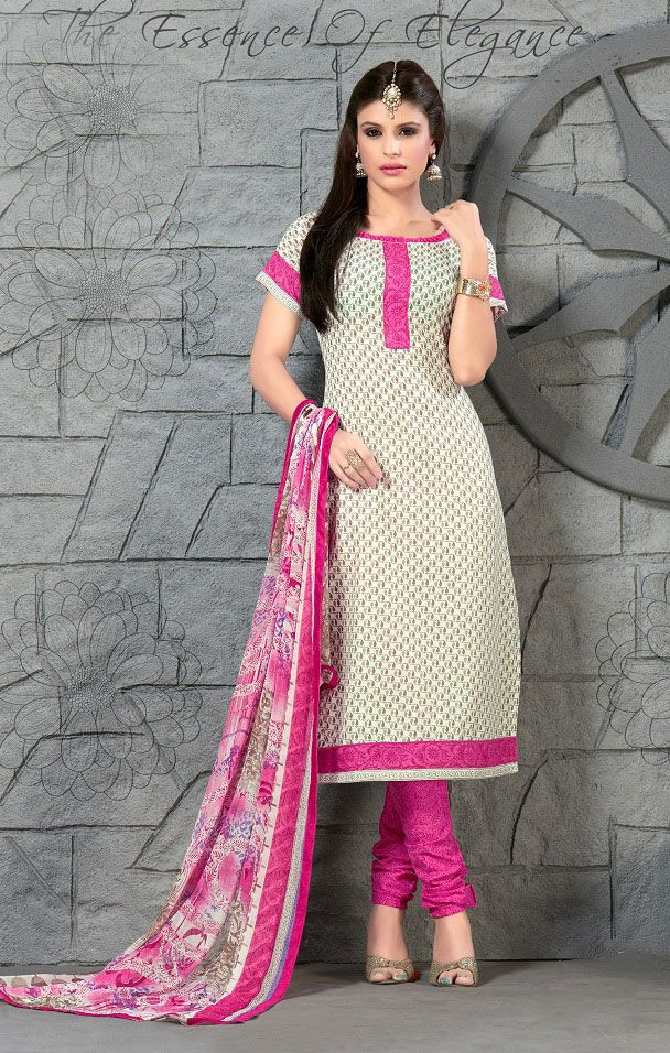 Buy Online Designer Churidar Suit or shuits Cream and Pink Color, Cotton material, Chiffon dupattas, Casual wear, Festival Wear, kitty party wear for women, Churidar Suits, Churidar suit, shuits for women.. We have large range of Churidar suits in our website with the best pricing and unique designs shipping to (UK, USA, India, Germany, UAE, Canada, Singapore, Australia, Mauritius, New Zealand) world wide.