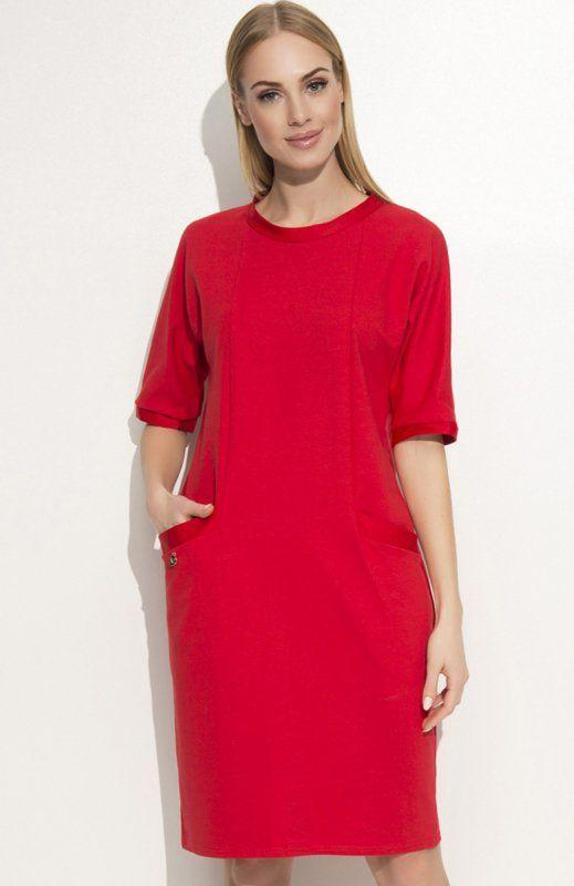 Makadamia M339 sukienka czerwona Komfortowa sukienka, fason typu oversize, z przodu praktyczne kieszenie