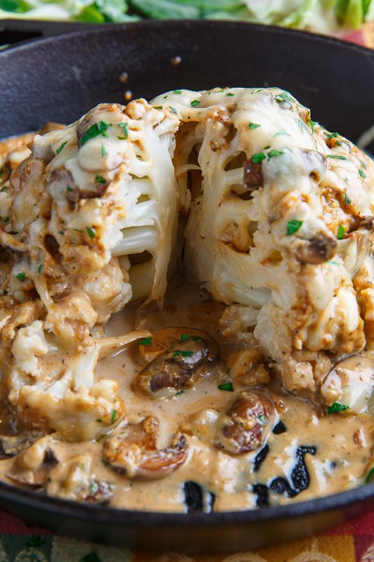 Roast Head of Cauliflower in Creamy Mushroom Sauce Sub coconut milk for AIP. YUM!