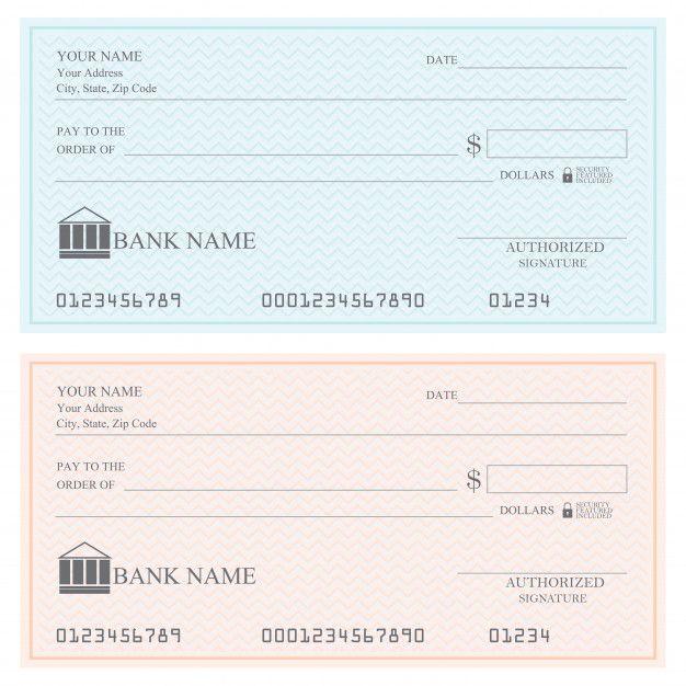 Blank Bank Checks Or Cheque Book Vector Illustration Giving Up Quotes Bank Check Printable Checks