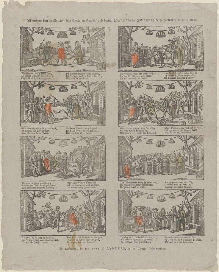 Erve H. Rynders | Afbeelding van de bruiloft van Kloris en Roosje / oud berugt klugtspel / welke jaarlyks op de schouwburg wordt vertoond, Erve H. Rynders, Anonymous, 1831 - 1854 | Blad met 8 voorstellingen over de bruiloft van Kloris en Roosje. Onder elke afbeelding een zesregelig vers in twee kolommen.