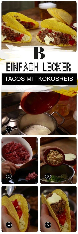 Das Highlight in der Taco-Füllung ist der Reis: Er wird mit Kokosmilch, Limette, Cashewkernen und Koriander veredelt. Wir zeigen das Rezept Schritt f…