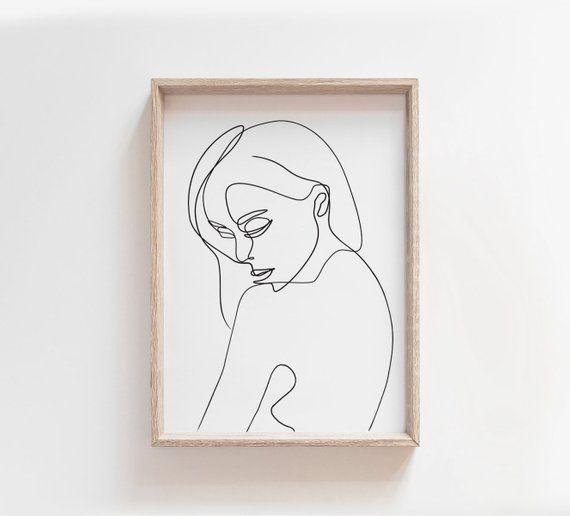 Female Portrait Line Drawing PRINTABLE, Single Line Art, One Line Woman Art, Abstract Female Form, Fine Line Print, Black and White Minimal – Charlotte Bridges
