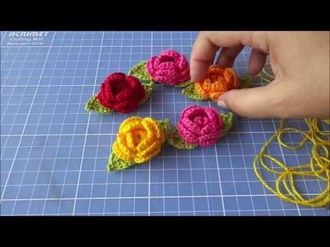 Flor em crochê para aplicação passo a passo - YouTube