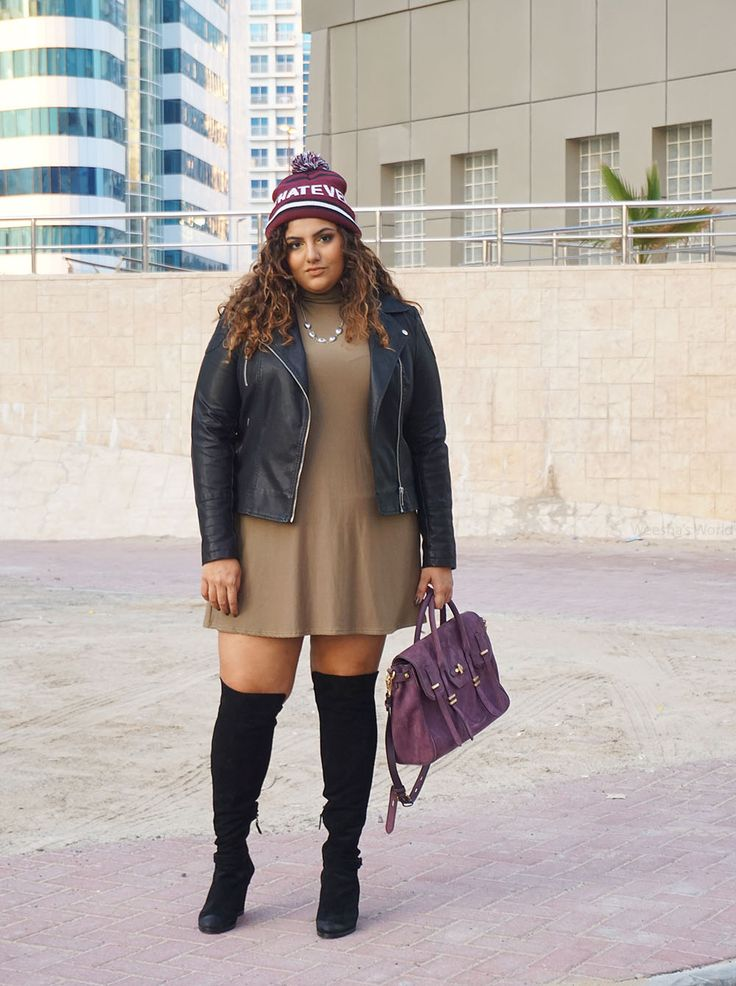 Plus Size Fashion for Women - Plus Size Outfit Idea - Bershka Whatever beanie, Dorothy Perkins leather jeacket, Boohoo Plus khaki dress, Dolce Vita over the knee boots, Rebecca Minkoff Jules satchel
