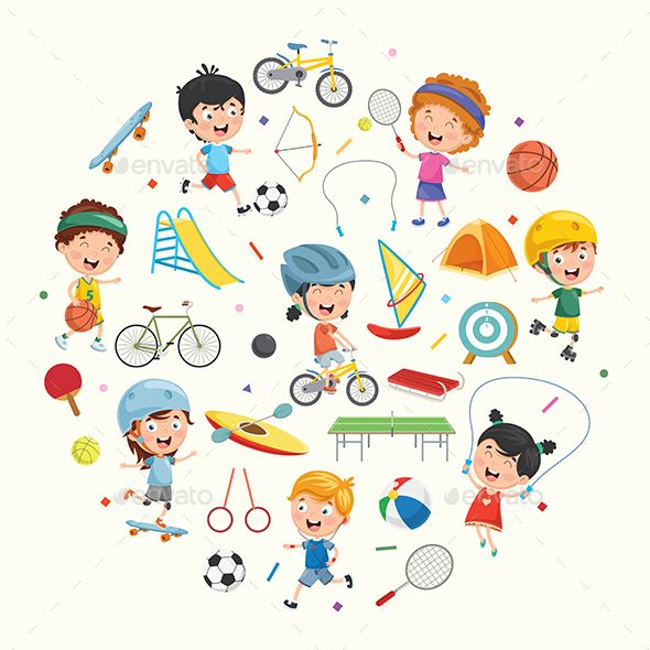 Vector Collection Of Kids And Sport Equipment Sport Illustration Sports Equipment Kids Soccer