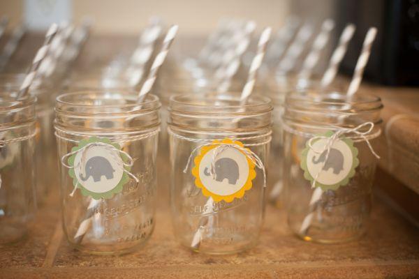Gender Neutral Baby Shower Decor: grey and white striped straws