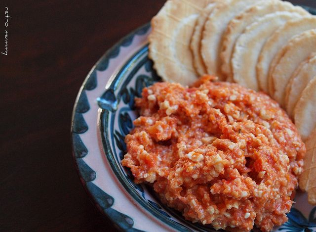 Sun dried tomato & cashew dip. Just like shop bought, but makes 5 x the amount. I added chillies as well.