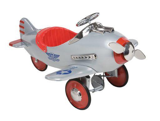 retro silver pursuit pedal plane kids toy car ride on airlplane
