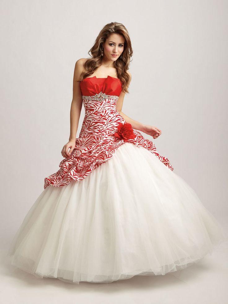 15 Dresses From Mexico   Este es otro modelo de Vestidos Strapless , en colores blanco y rojo ,