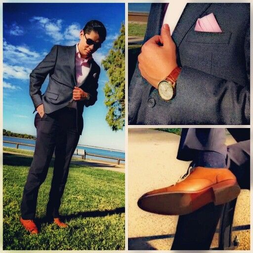 Black sport coat with tan shoes