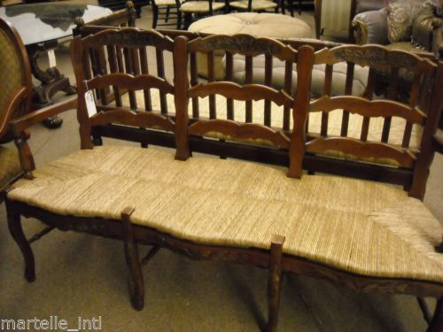 French Country Bench Rush Seat Hand Carved Mahogany New