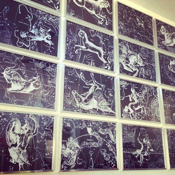 Zodiac Constellations framed in bedroom #artwork