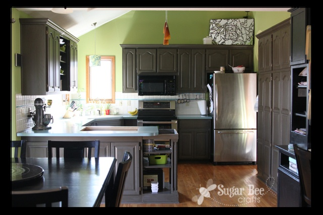 Kitchen Cabinet Reveal Thanks Rustoleum Oak