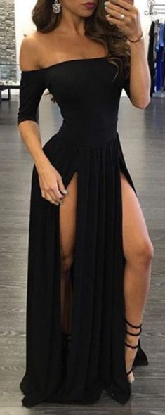Shevny Sexy Prom Dresses,Chiffon Prom Dress,Off-the-shoulder Prom Gown With Split, Half-Sleeve Black Prom Dress,Black Party Dresses,Prom Dress