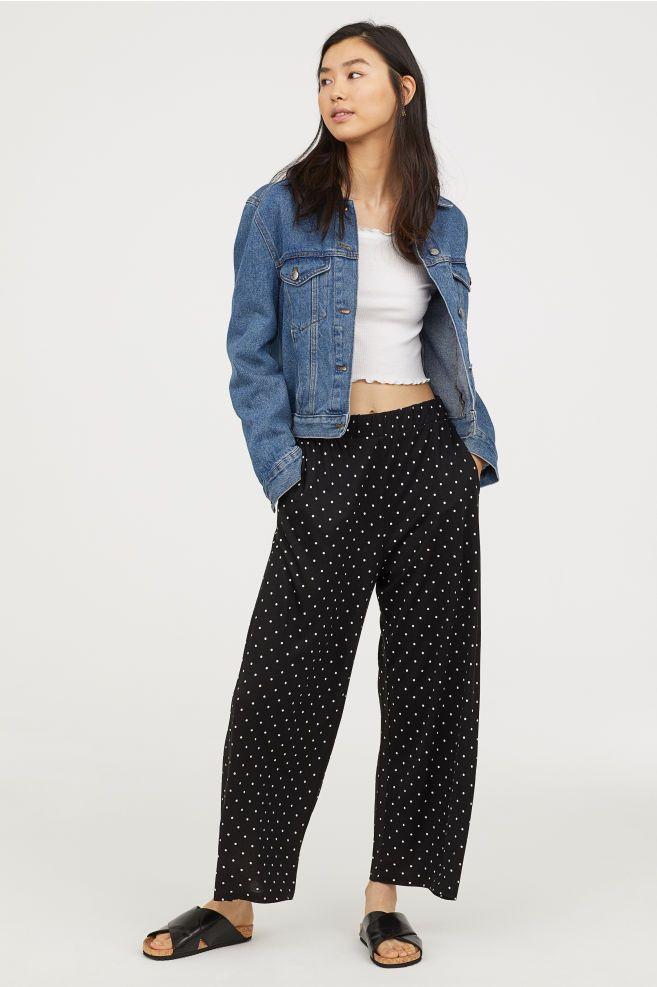 949388172f62 Wide-cut Jersey Pants - Black/dotted - Ladies | H&M US 1