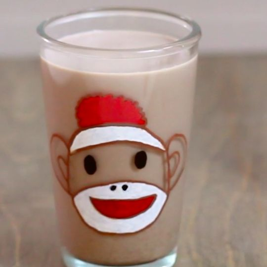DIY sock monkey glass makes chocolate milk taste extra delicious. Instructions include free template.