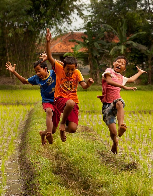 Jumping happiness for joy in the rice fields of Indonesia ...