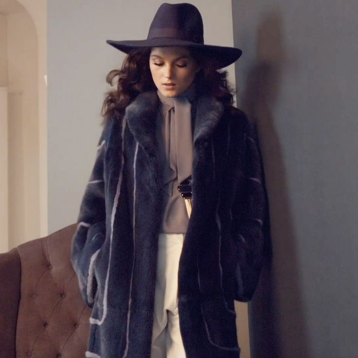 Dreamy blue long mink coat as we are getting closer to Fall.