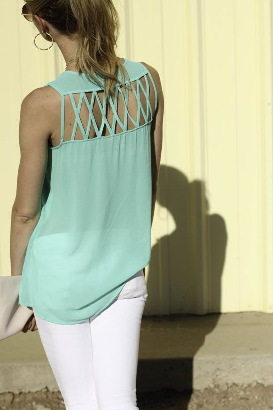love.: Cutouts, Blouses, Mint Green, Criss Crosses, Summer Outfits, White Pants, White Jeans, Cut Outs, Back Details