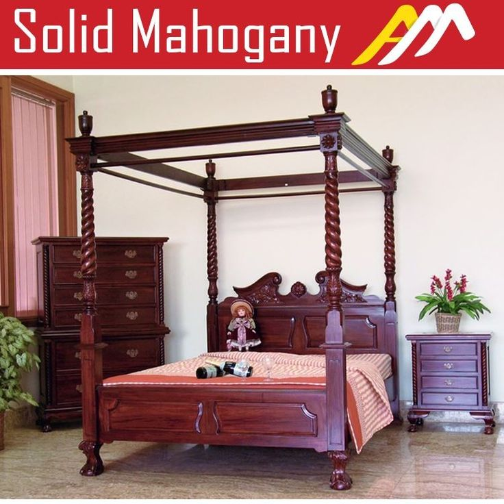 Antique Style Bedroom Furniture Solid Mahogany Wood Chippendale Style 4 Poster Bed Queen &  King Size