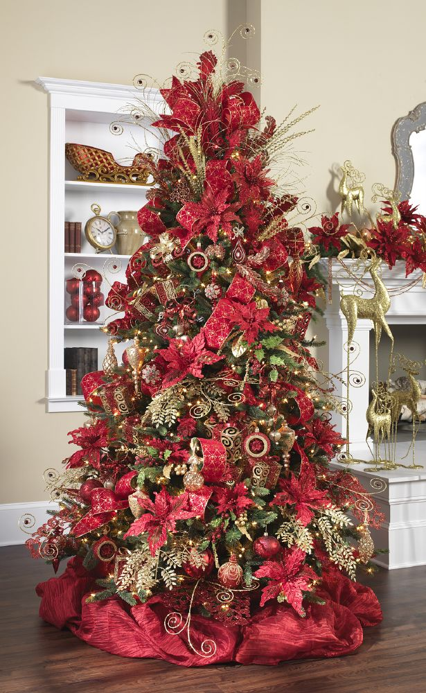 Rich Christmas red and sparkling gold swirls combine for an elegant home decor stylized Christmas tree. http://www.seasonalconceptsonline.com/