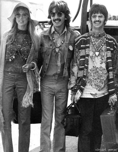 Pattie, George and Ringo, late 1960s.