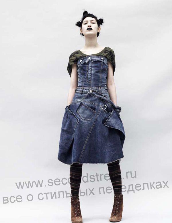 платье из джинсы в стиле грандж