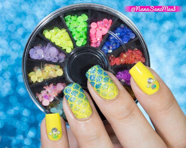 Mermaid Gradient nail art by @nanasanzmes3 using Rhinestones from item #01724565 from @LightInTheBox