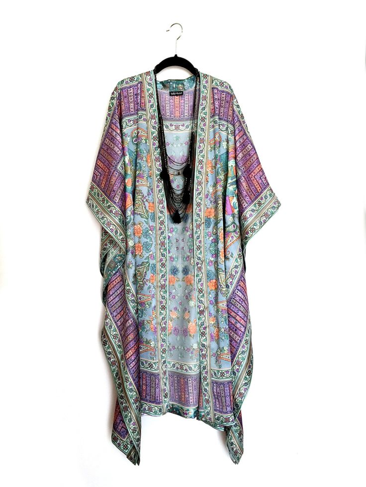 A personal favourite from my Etsy shop https://www.etsy.com/listing/228575954/maxi-length-kimono-jacket-beach-cover-up