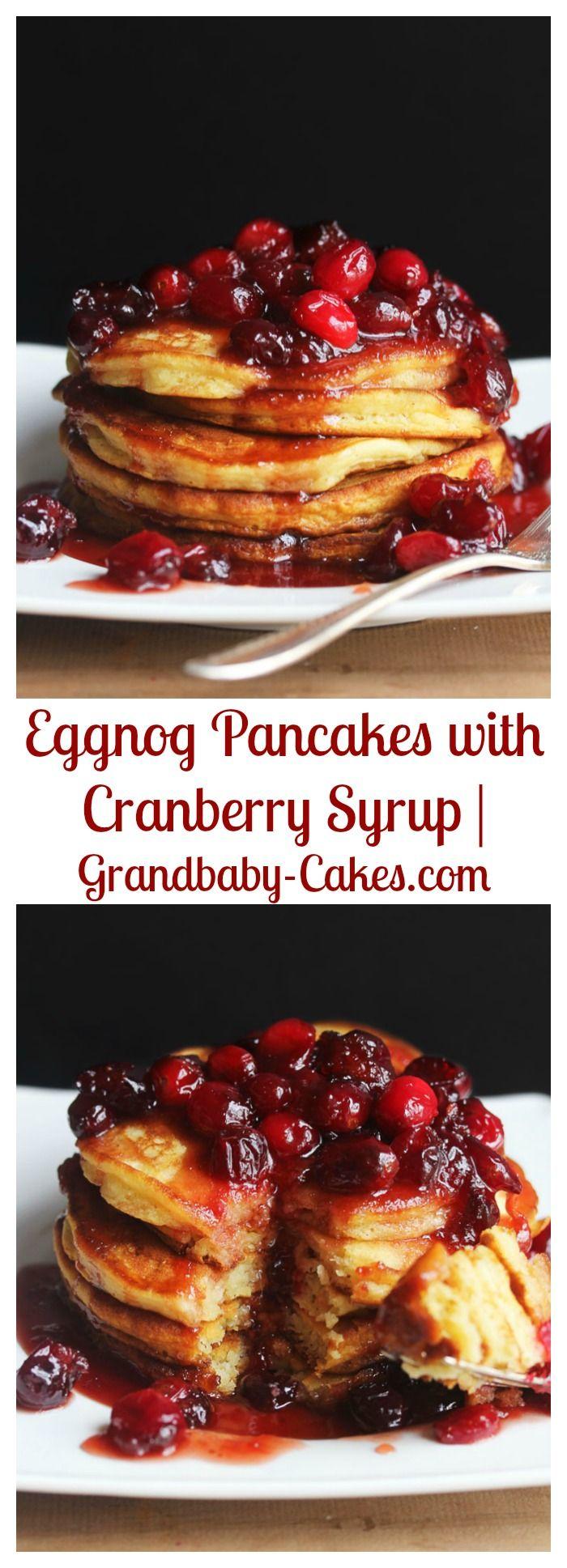Eggnog Pancakes with Cranberry Syrup | Grandbaby-Cakes.com