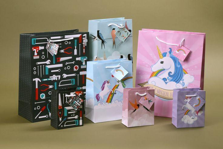 Dárkové tašky ve 4 velikostech, design Jednorožec, Vlaštovky a Nářadí #darkovataska #jednorozec #unicorn #giftbag #giftware