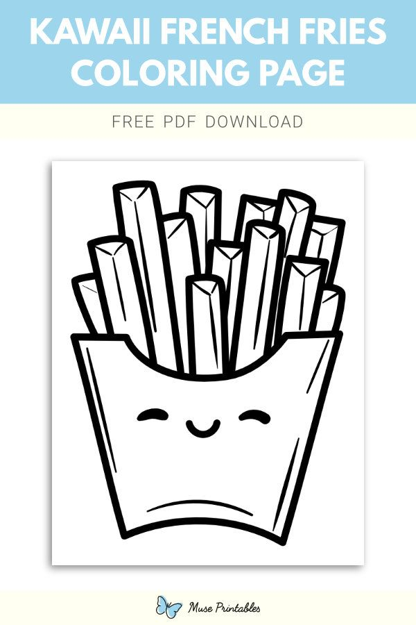 Free Kawaii French Fries Coloring Page Coloring Pages French Fries Fries