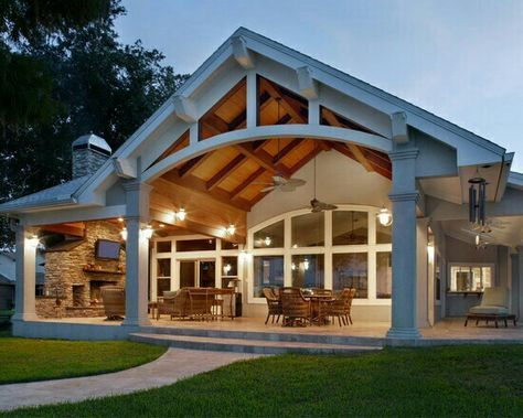 Best 25 covered back porches ideas on pinterest covered back patio back patio kitchen ideas - Two story house plans with covered patios ...