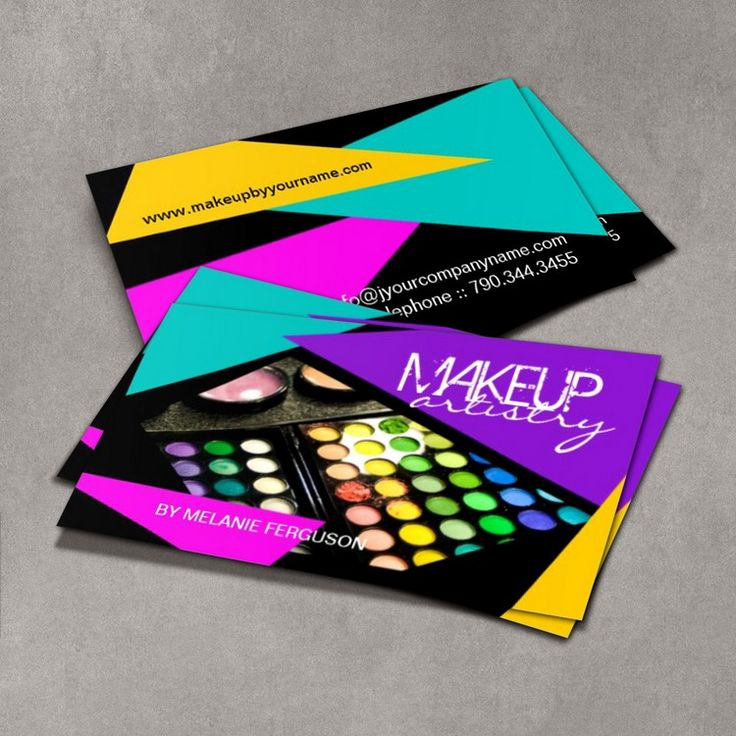 Fully customizable cosmetics business cards created by Colourful Designs Inc.